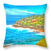Water Gushing In On A Natural Cove Throw Pillow