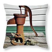 Water Hand Pump Throw Pillow