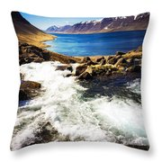 Water In Iceland - Beautiful West Fjords Throw Pillow