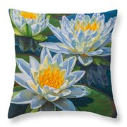 Water Lilies 12 - Fire And Ice Throw Pillow