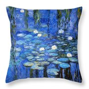 water lilies a la Monet Throw Pillow