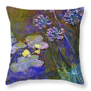 Water Lilies And Agapanthus 1917 Throw Pillow
