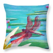Water Lilies And Dragonfly Throw Pillow