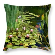 Water Lilies And Koi Pond Throw Pillow