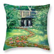 Water Lilies Bridge Throw Pillow