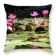 Water Lilies Tam Coc  Throw Pillow