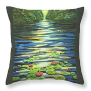 Water Lillies At Dusk Throw Pillow