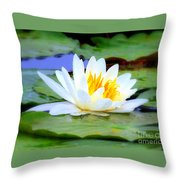 Water Lily - Digital Painting Throw Pillow