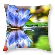 Water Lily And Bee Throw Pillow
