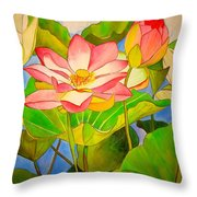 Water Lily Lotus Throw Pillow