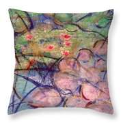 Water Lily Monotype Throw Pillow