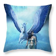 Water Pegasus Throw Pillow