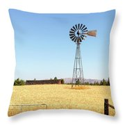 Water Pump Windmill At Wheat Farm In Rural Oregon Throw Pillow