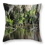 Water Reeds And Spanish Moss Throw Pillow