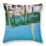 Water Reflections Of Morro Bay  Dock Throw Pillow