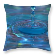 Water Sculpture Neon Blue 1 Throw Pillow
