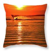 Water Skiing At Sunrise  Throw Pillow