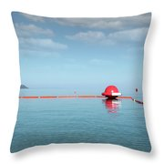 Water Slide Seascape Summer Vacation Scene Throw Pillow