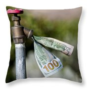 Water Spigot With Money Flowing Out Throw Pillow