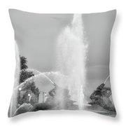 Water Spray - Swann Fountain - Philadelphia In Black And White Throw Pillow