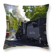 Water Tank And Steam Engine Throw Pillow