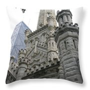Water Tower And Sears Tower Throw Pillow