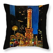 Water Tower At Night Throw Pillow