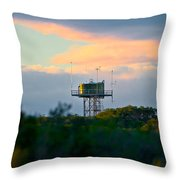 Water Tower In Orange Sunset Throw Pillow