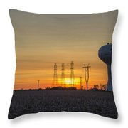 Water Tower Of Sunset Throw Pillow