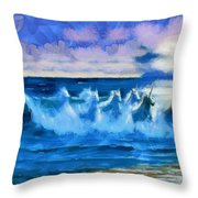 Water Unicorns Throw Pillow