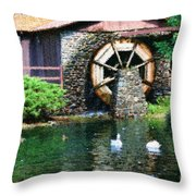 Water Wheel Duck Pond Throw Pillow