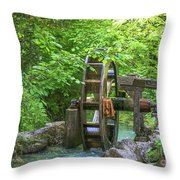 Water Wheel In The Woods Throw Pillow
