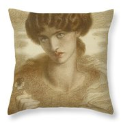 Water Willow - Study Of Female Head And Shoulders Throw Pillow