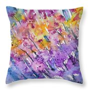 Watercolor - Abstract Flower Garden Throw Pillow