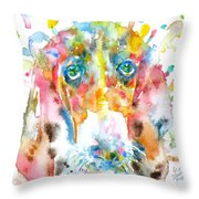 Watercolor Basset Hound Throw Pillow