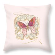 Watercolor Butterfly With Vintage Swirl Scroll Flourishes Throw Pillow