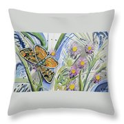Watercolor - Checkerspot Butterfly With Wildflowers Throw Pillow by Cascade Colors