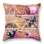 Watercolor Collage Of Three Bicycles In Triptych Throw Pillow