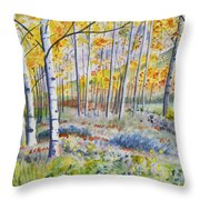 Watercolor - Colorado Autumn Forest And Landscape Throw Pillow