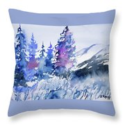 Watercolor - Colorado Winter Wonderland Throw Pillow