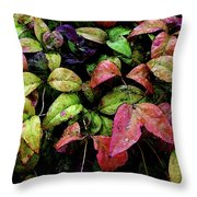 Watercolor Colorful Leaves After A Shower 1771 W_2 Throw Pillow