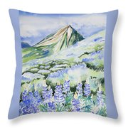 Watercolor - Crested Butte Lupine Landscape Throw Pillow by Cascade Colors