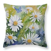 Watercolor - Daisies And Common Blue Butterflies Throw Pillow