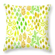 Watercolor Doodle Leaves Pattern White  Throw Pillow