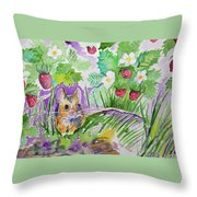 Watercolor - Field Mouse With Wild Strawberries Throw Pillow