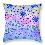 Watercolor Flowers And Leaves Throw Pillow