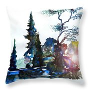 Watercolor Forest And Pond Throw Pillow