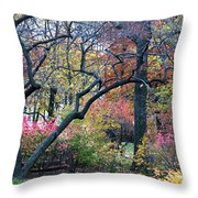 Watercolor Forest Throw Pillow by Lorraine Devon Wilke