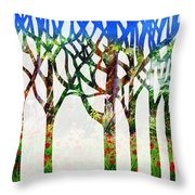 Watercolor Forest Silhouette Summer Throw Pillow