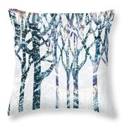 Watercolor Forest Silhouette Winter Throw Pillow